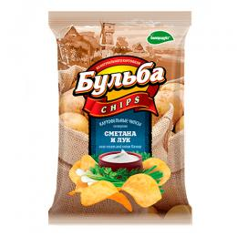 """Чіпси з натуральної картоплі """"Сметана і цибуля"""" 0.75гр."""