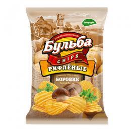 """Чіпси з натуральної картоплі """"Бульба"""" зі смаком боровиків (рифлені) 0.75 гр."""