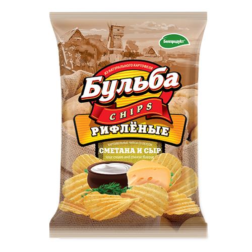 """Чипсы из натурального картофеля """"Бульба"""" со вкусом сметаны и сыра  (рифленые) 0.75 гр."""