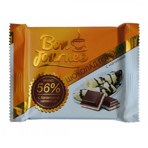 """Шоколад """"Bon Journee"""" горький с банановой начинкой 80 г"""