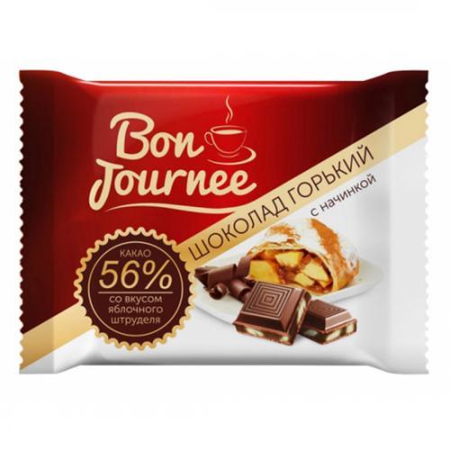 """Шоколад  """"Bon Journee"""" гіркий з начинкою зі смаком яблучного штруделя 80 г"""