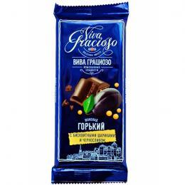 """""""ВІВА ГРАЦІОЗО"""" шоколад гіркий з бісквітними кульками і чорносливом 90 г"""