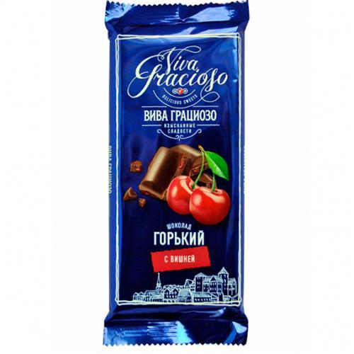 """ВИВА ГРАЦИОЗО"" шоколад горький с вишней 90 г"
