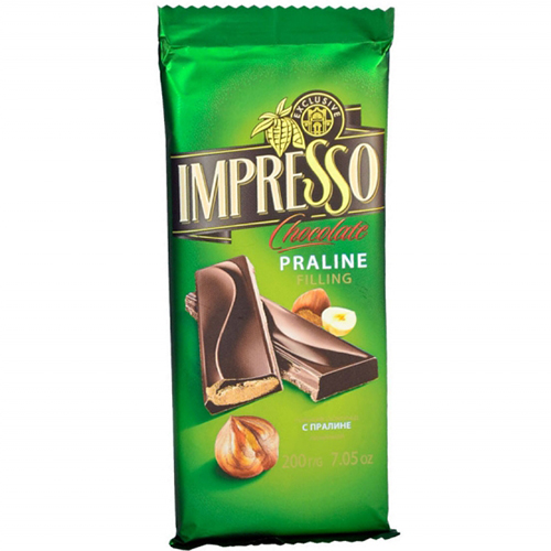 "Шоколад горький ""Impresso"" с начинкой пралине 200 г"