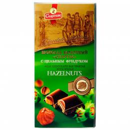 """Шоколад """"МОЛОЧНИЙ З ЦІЛІСНІМ ФУНДУКОМ"""" 90 г"""