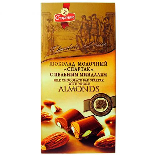 """Шоколад """"МОЛОЧНЫЙ С ЦЕЛЬНЫМ МИНДАЛЕМ"""" 90 г"""